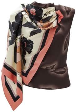 Dries Van Noten Brown Silk Top With All Over Lips Printed.