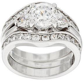 Diamonique As Is 100-Facet 2 pc Bridal Ring Set Platinum Clad