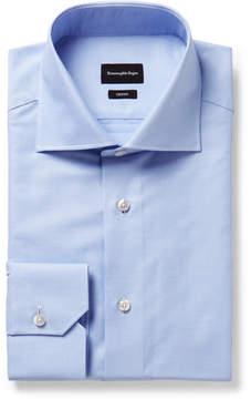 Ermenegildo Zegna Light-Blue Trofeo Slim-Fit Cutaway-Collar Cotton-Poplin Shirt