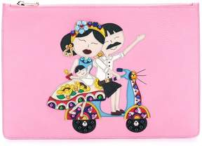 Dolce & Gabbana tDG family patch clutch - PINK & PURPLE - STYLE