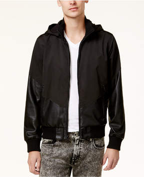 GUESS Men's Cabot Hooded Mixed Media Hooded Jacket