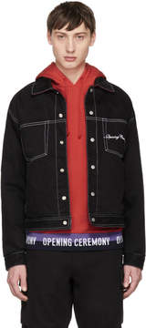 Opening Ceremony Reversible Black and Red Denim and Corduroy Jacket