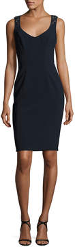 Theia Sleeveless Embellished-Back Sheath Dress, Midnight