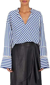 Derek Lam Women's Handkerchief-Hem Striped Silk Blouse