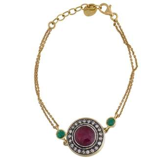 Amrapali 18k Yellow Gold Diamond and Synthetic Ruby Bracelet