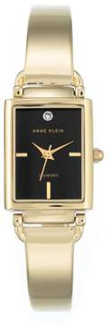 Anne Klein Goldtone Diamond-Accented Black Tank Dial Bracelet Watch