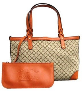 Gucci Craft Beige Diamante Canvas Tote Bag - ORANGE - STYLE