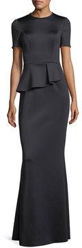 Black Halo Short-Sleeve Peplum Neoprene Evening Gown