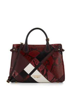 Burberry Banner Medium Patchwork Python Tote Bag, Pink - PINK - STYLE