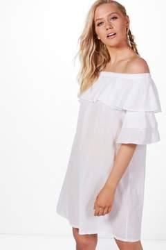 boohoo Ruffle Off Shoulder Dress