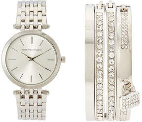 Adrienne Vittadini ADST1705 Silver-Tone Watch & Bangle Set