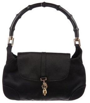 Gucci Bamboo Satin Evening Bag - BLACK - STYLE