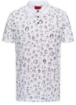 HUGO Boss Scribble-Print Cotton Polo Shirt, Slim Fit Deak XS White