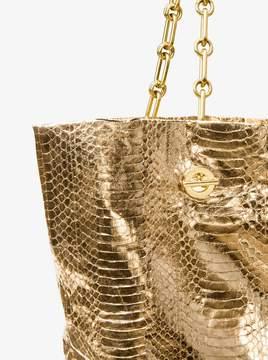Michael Kors Angelina Metallic Snakeskin Tote - BLACK/GOLD - STYLE