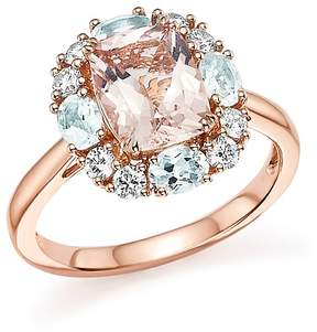 Bloomingdale's Morganite, Aquamarine and Diamond Ring in 14K Rose Gold - 100% Exclusive