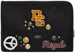 Dolce & Gabbana Black Brooches and Patches Pouch