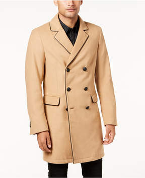 GUESS Men's Harlan Double-Breasted Peacoat with Faux-Leather Trim