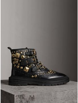 Burberry Studded Leather Brogue Ankle Boots
