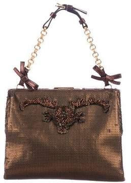 Prada Leather-Trimmed Embellished Bag