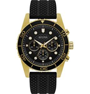 Bulova Sport Chronograph Black Dial Black Rubber Men's Watch