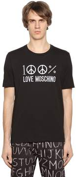 Love Moschino Embroidered Logo Cotton Jersey T-Shirt