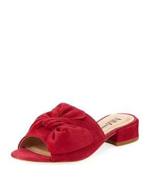 Neiman Marcus Sancha Suede Bow Slide, Red