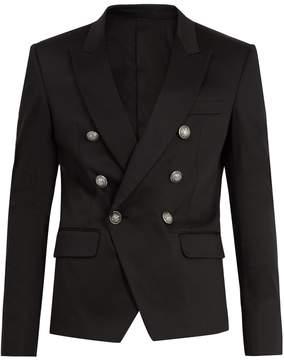 Balmain Peak-lapel cotton-blend blazer
