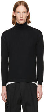 Issey Miyake Black Wool High Gauge Turtleneck