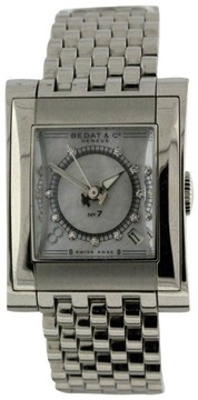 Bedat & Co No.7 Stainless Steel Date Mother of Pearl Diamond Dial 25.5mm x 32mm Watch