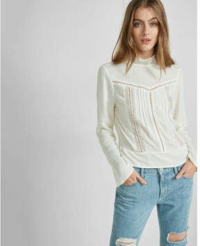 Express mock neck lace inset blouse