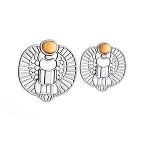Azza Fahmy Sterling Silver & 18 Carat Yellow Gold Abstract Winged Scarab Earrings