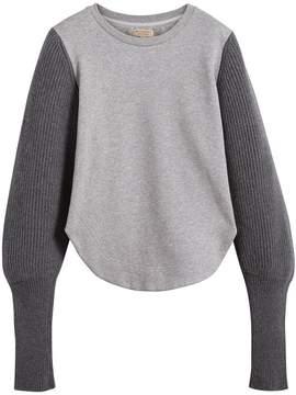 Burberry rib knit-sleeve sweatshirt
