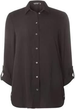 Dorothy Perkins **Tall Black Roll Sleeve Side Tab Shirt