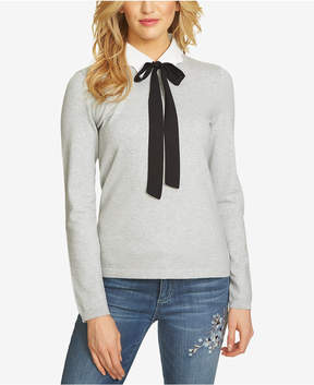CeCe Cotton Bow-Tie Sweater