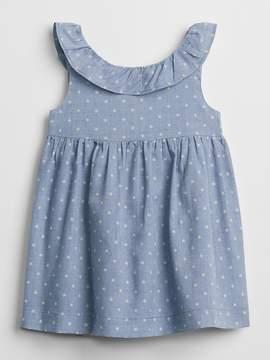 Gap Dot Ruffle Chambray Dress