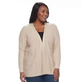 Croft & Barrow Plus Size Cable Knit Cardigan Sweater