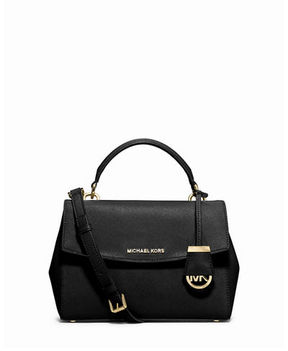 MICHAEL Michael Kors Ava Small Saffiano Leather Satchel Bag - BLACK - STYLE