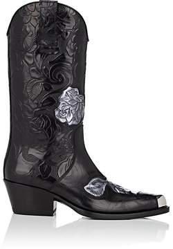 Calvin Klein Women's Floral Leather Cowboy Boots