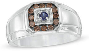 Zales Men's Lab-Created Blue Sapphire and 3/8 CT. T.W. Champagne Diamond Frame Ring in 10K White Gold