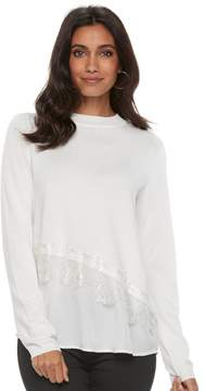 Elle Women's Asymmetrical Mixed-Media Sweater