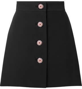Miu Miu Embellished Cady Mini Skirt - Black