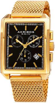 Akribos XXIV Mens Gold Tone Strap Watch-A-918ygb