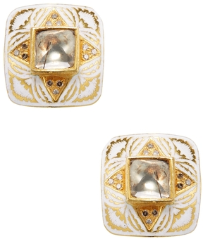 Artisan Women's 22K Yellow Gold & 1.21 Total Ct. Rosecut Diamond Enamel Stud Earrings