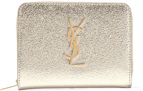 Saint Laurent Metallic Textured-leather Wallet - Silver - SILVER - STYLE