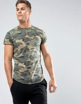 Hollister Crew T-Shirt Slim Fit Scallop Hem Logo in Green Camo