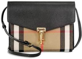 Burberry Small Leather House Check Crossbody Bag - Black