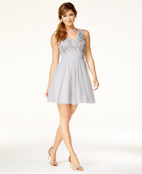 As U Wish Juniors' Beaded Fit & Flare Dress