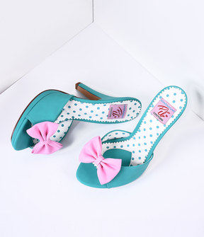 Unique Vintage Teal & Blush Pink Bow Faux Leather Siren Peep Toe Heels Shoes