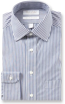 Roundtree & Yorke Gold Label Non-Iron Fitted Classic-Fit Spread Collar Striped Dress Shirt