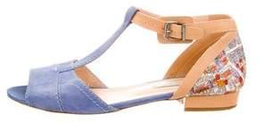 Carven T-Strap Suede Sandals